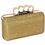 Dazzling Gold Glitter Lace Rhinestone Encrusted 4 Rings Closure Rectangle Hard Case Clutch Minaudiere Evening Cocktail Bag Baguette Handbag Purse w/Chain Strap
