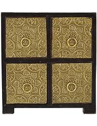 Pushpa Overseas Brass Plated 4 Drawer Jewellery Box (18 Cm X 10 Cm X 19 Cm, Brown)