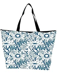 Snoogg Seamless Texture With Flowers And Butterflies Endless Floral Pattern Waterproof Bag Made Of High Strength... - B01I1KH0BM