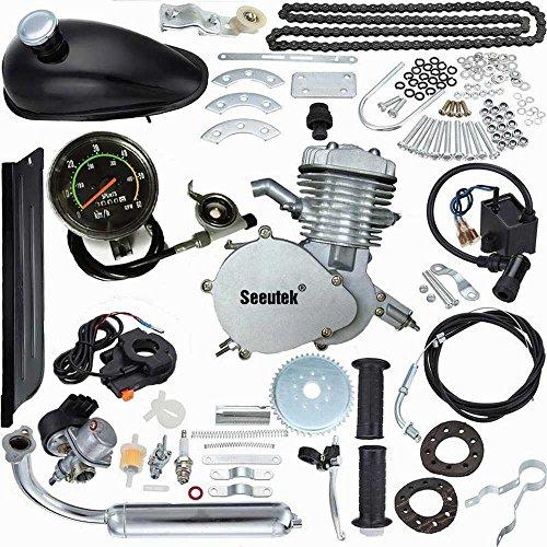 Seeutek PK80 80cc 2-Cycle Petrol Gas Engine Motor Kit with Angle Fire Slant Head for Motorized Bicycle Bike