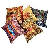 Ufc Mart Jacquard Multi -Color Cushion Cover 5 Pcs. Set, Color: Multi-Color, #Ufc00462