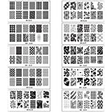 Bundle Monster 10pc Extra Large Full Nail Art Retangular Shape XL Stamping Plates, Set 1: 1-10