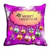 MeSleep Purple Merry Christmas Cushion Cover (16x16)