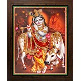 Lord Krishna / Shree Krishna / Shri Krishna With Morli (Fluit) Poster With Frame (Size: 8.5x11 Inch)