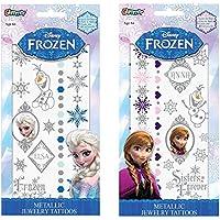 Disney Frozen Elsa And Anna Metallic Jewelry Temporary Tattoo Kits, Set Of 2