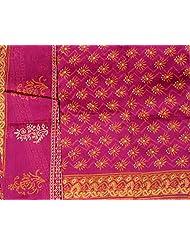 Exotic India Beetroot-Purple Chanderi Salwar Kameez Fabric With Block-P - Purple