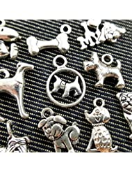 10pc Mixed Tibetan Silver Plated Animals Dogs Charms Pendants Jewelry Making DIY Charm Handmade Crafts (NS545...