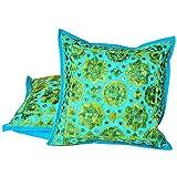 Ufc Mart Jaipuri Fine Embroidery Cushion Cover 2pc. Set, Color: Turquoise, #Ufc00502