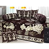 Reliable Trends CHENILLE Modern Diwan Bedsheet Set (Set Of 8 Pieces)- BROWN
