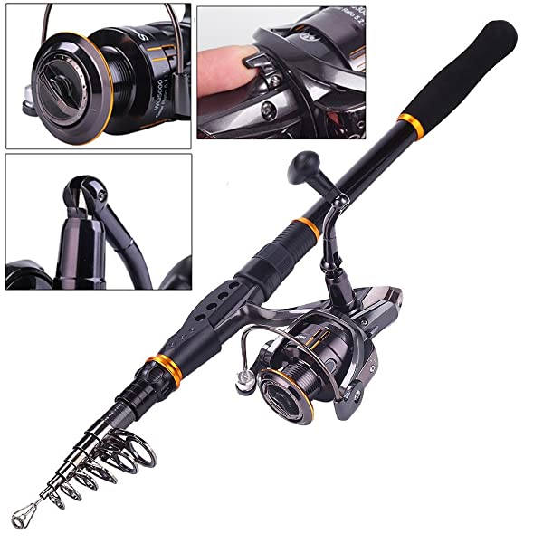 Sougayilang Fishing Carbon Telescopic Fishing Rod Pole with Spinning Reel Line