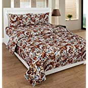 Home Cloud 3D Print Polycotton Brown Base Rose Floral Print Double Bedsheet With 2 Pillow Covers