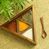 ExclusiveLane Sheesham Wood Pyramid Spice Box With Spoon (4 Containers) - Decorative Boxes Spice Jars And Racks Storage Boxes For Kitchen