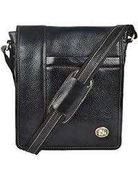 Genuine Leather Stylish Multipurpose Unisex Sling Bag( Black)