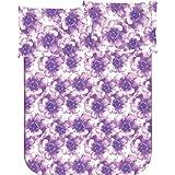 Bianca Flora Art Cotton Double Bedsheet With 2 Pillow Covers - Purple