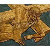 Artzloom 9th Station Of The Cross, Jesus Falls The Third Time Canvas Art Print With Frame - Size 29.6 Inch X 24.5...