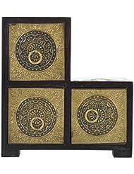 Pushpa Overseas Brass Plated 3 Drawer Jewellery Box (18 Cm X 9 Cm X 19 Cm, Brown)