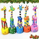 [Children Safety]Wooden Giraffe Push Puppets,Swing Body Giraffe Desktop Toys Cartoon Fingers Toys Home Kids Room...