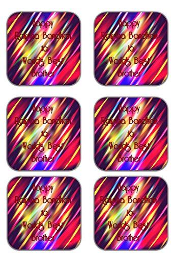 MeSleep Abstract Rakhi Wooden Coaster-Set Of 6 - B013LEN7S8