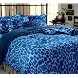 Dreamscape 100% Cotton 144TC Blue Floral Double Bedsheet With Two Pillow Covers