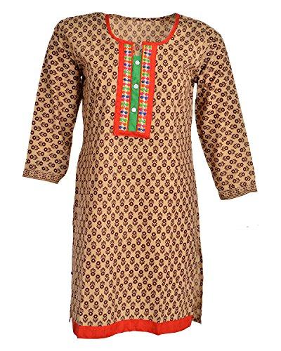 Global Women's Cotton Straight Kurta (GW36Beige40015, Beige, 40)