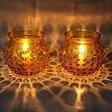 EarthenMetal Handcrafted Traditional Matki Shaped Yellow Coloured Candlelight Holder -Set Of 2