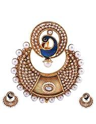 Ashiana Elegant Peacock Pearl Pendant Set