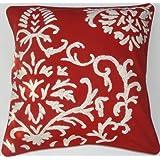 Crewel Pillow Barreoir White On Exotic Red Cotton (20X20)
