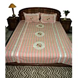 Amita's Home Furnishing Multi Color Embroided & Patch Work Bed Linen - B00YR9AI4I