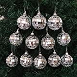 Silver Mirrored Glass Disco Ball Christmas Ornaments Pack Of 12