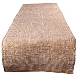 "Swadeshi Store Table Runner Woven With Gold Lurex 100% Handwoven Cotton -White /Gold (13""X60"")"