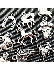 10pcs Mixed Tibetan Silver Plated Animals Horse Deer Dog Charms Pendants Jewelry Making DIY Craft Charm Handmade...
