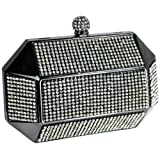 Divine Rhinestone Studded Spherical Top Clasp Rectangle Hard Case Minaudiere Clutch Evening Bag Baguette Handbag Purse w/2 Chain Straps