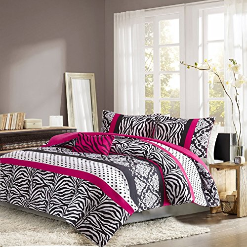 pink zebra print bedroom bedding set teen comforter pink black white 16762