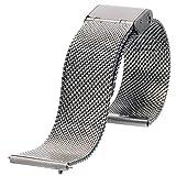 [EMPIRE] ワンタッチで簡単装着! スライド式バネ棒加工付き ミラネーゼ メッシュ ブレスレット 腕時計 替え ベルト (シルバー, 18mm)
