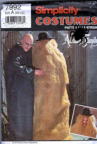 Great Group Halloween Costumes: The Addams Family - Simplicity Sewing Pattern 7992 ©1992 Addams Family Costumes; Uncle Fester & Cousin IT, Size A (XS-LG)