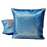 Ufc Mart Blue Jacquard Fine Silk Cushion Cover 2pc. Set, Color: Turquoise, #Ufc00474