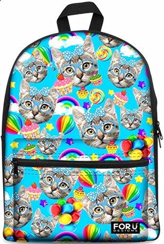 Backpack Bags,FOR U DESIGNS Casual Daypack Cute Cat Fashion School Backpack Rucksack Back Pack Fits 15.6 inch Laptop(Blue)