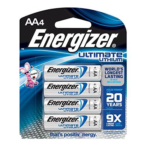 Energizer Ultimate Lithium AA Batteries, World's Longest-Lasting, 4 pack