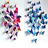 KingSo® 12pcs 3D Butterfly Sticker Set DIY Home Room Wall Art Design Decal Decor Gift (Purple)
