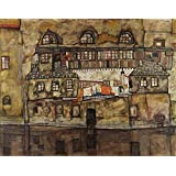 The Museum Outlet - Egon Schiele - House Wall On The River - A3 Poster Print