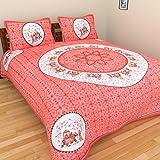 Tanvi's Jaipuri Print 100% Cotton Double Bedsheet With 2 Pillow Covers - (TA10245, Multicolor)