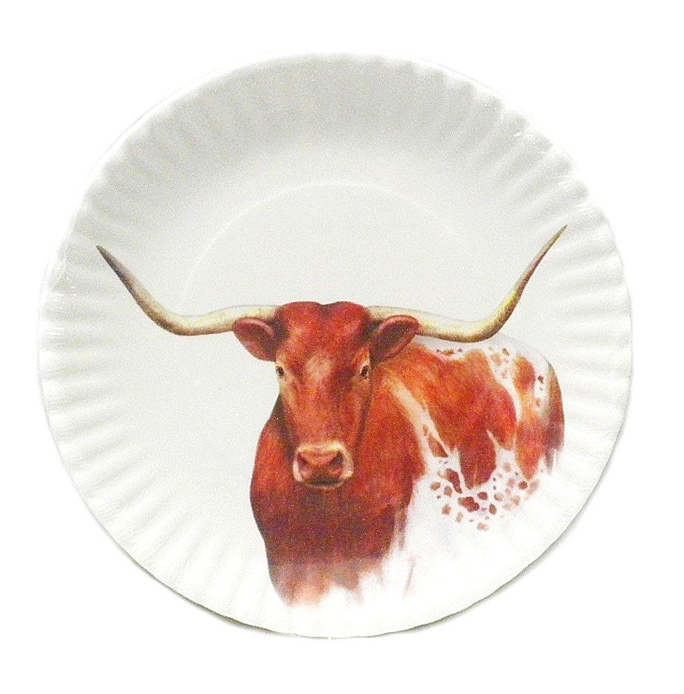 Western Longhorn Steer Melamine Plates