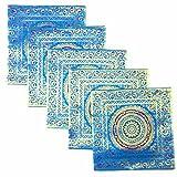 Kriti Creations Set Of 5 Benarasi BlueCushion Covers (16*16 IN)