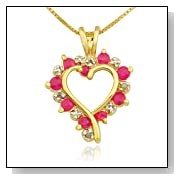Ruby and Diamond Accent Heart Pendant