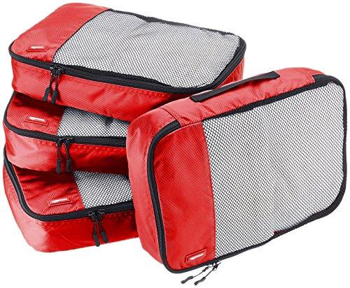 AmazonBasics Lot de 4sacoches de rangement pour bagage TailleM, Rouge