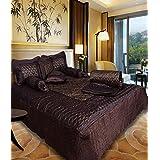Rangsthali Gold Printed Satin Double Bed Bedding Wedding Set ( Set Of 8 Pcs) 1 Bedsheet:: 2 Pillow Cover:: 2 Filled...