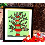 Tree Painting, Black And White Tribal Narratives In Gondi Style On Vintage Coloured Paper With Black Frame