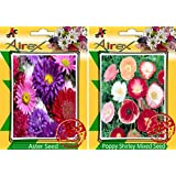 Airex Aster And Poppy Shirley Mixed Seeds ( Pack Of 30 Seeds Per Packet)