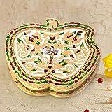 Handicrafts Gift House Home Décor Handicrafts|Decorative Handicrafts|Home Décor| Stylish Apple Design Golden Meenakari Dryfruit Box 423