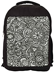 Snoogg Black And White Abstract Backpack Rucksack School Travel Unisex Casual Canvas Bag Bookbag Satchel